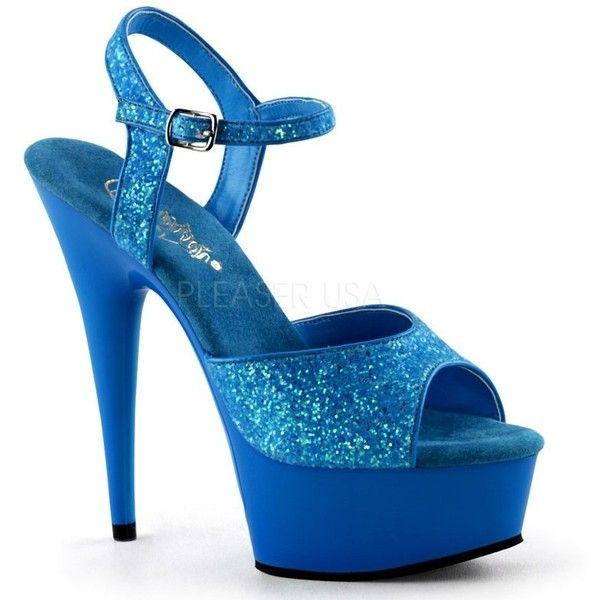 Pleaser Delight 609UVG UV Blue Platform Ankle Strap Platform Sandals... ($72) ❤ liked on Polyvore featuring shoes, sandals, ankle strap high heel sandals, coral sandals, ankle tie sandals, glitter sandals and platform shoes