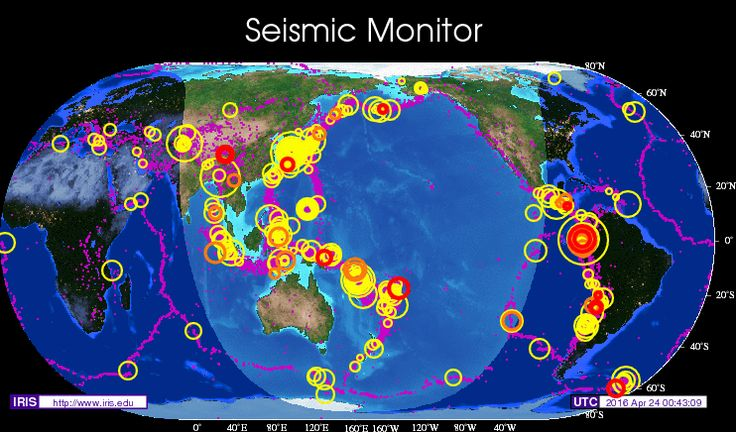 Up-to-date map of the latest earthquakes with resources like news, lists, tools and a 3D viewer.