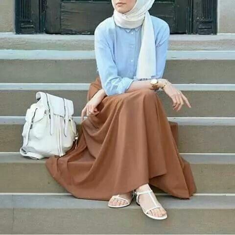 Pinterest: @eighthhorcruxx. White hijab, blue shirt and brown skirt