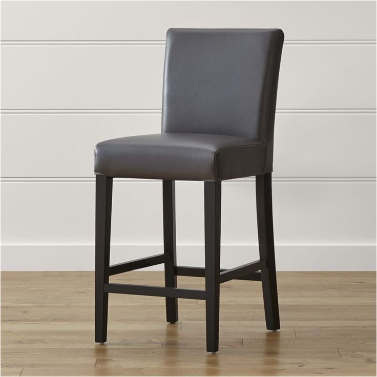 Shop Lowe Smoke Leather Counter Stool.   Smoky bicast leather with double saddle-stitching detail,  the Lowe counter stool has a long, lean silhouette with comfortable, roomy seat.