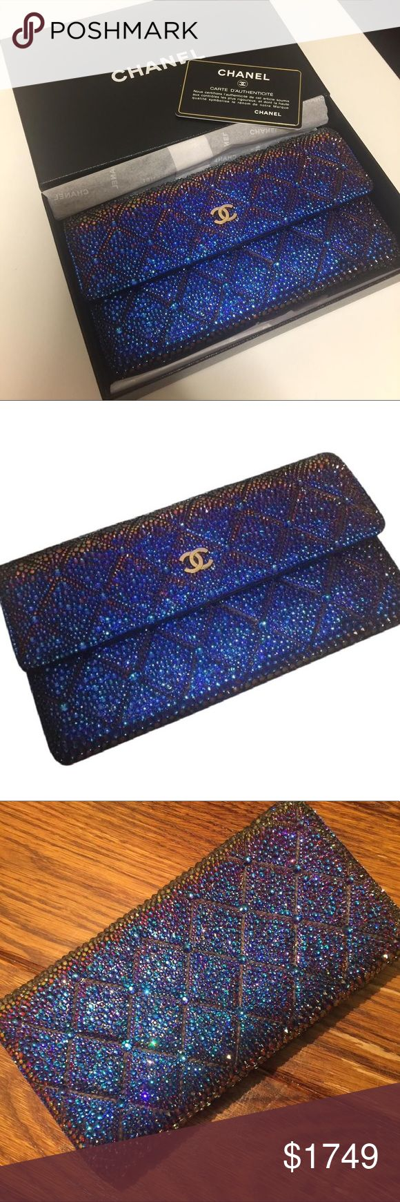 CHANEL STRASS WALLET CLUTCH AMAZING!!!! 100% Authentic #Chanel Quilted wallet with Swarovski crystals • BEAUTIFUL Custom crystal wallet in meridian blue Swarovski crystal • strass work is excellent • ONE OF A KIND • iridescent color changes in the light • STUNNING wallet/clutch • OVER 10,000 CRYSTALS USED • box & authenticity card are included • MUST SEE VIDEO ON INSTAGRAM: @theluxurylocker CHANEL Bags Wallets