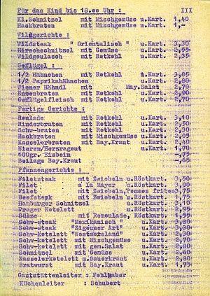 DDR-Preise Gaststätten-Speisekarte
