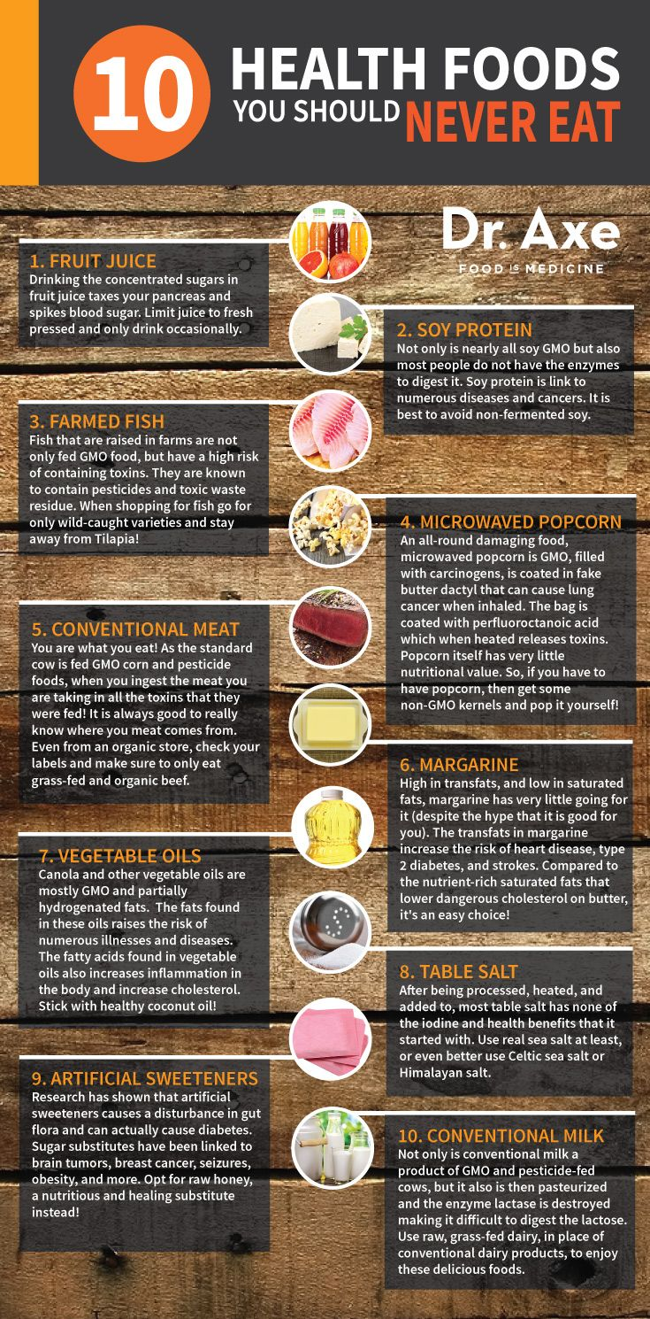 Healthy Foods You Should Never Eat Infographic: I want to fact-check every one of these. What the hay does this guy think we SHOULD eat?