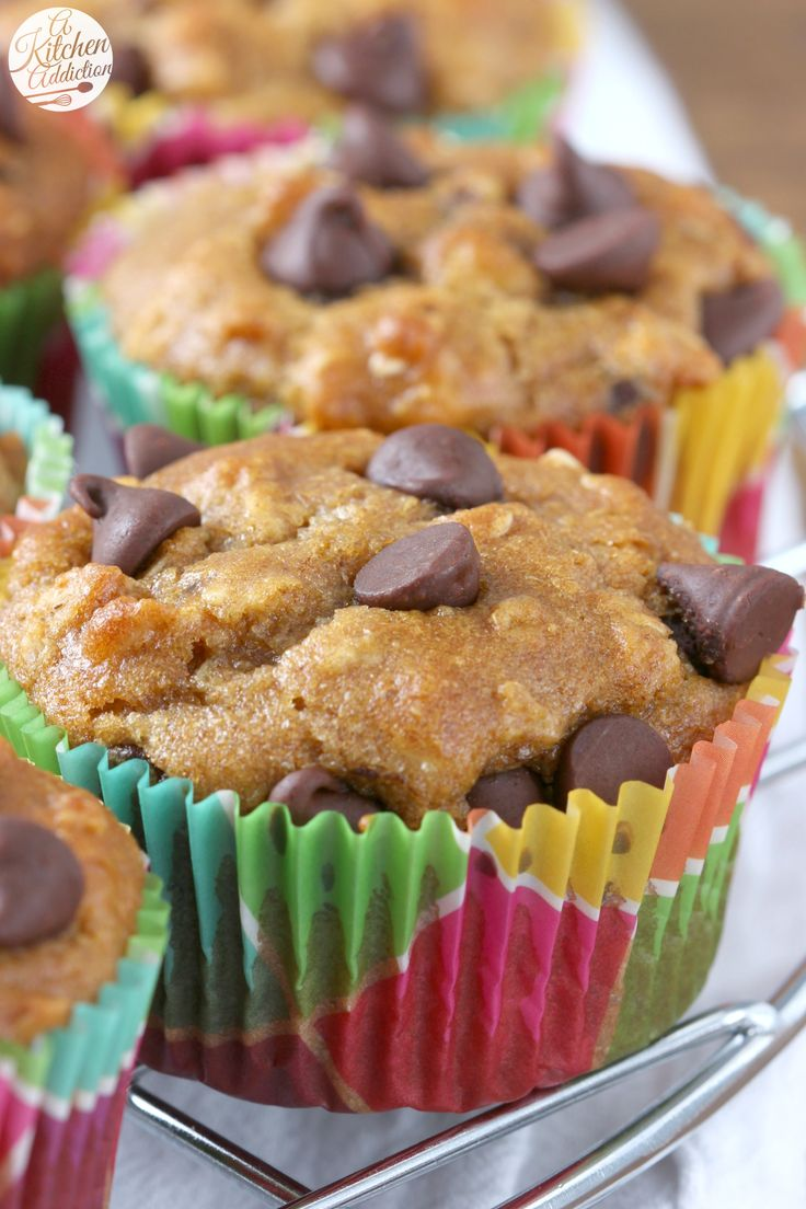 Whole Wheat Peanut Butter Chocolate Chip Oat Muffins Recipe from A Kitchen Addiction @akitchenaddict
