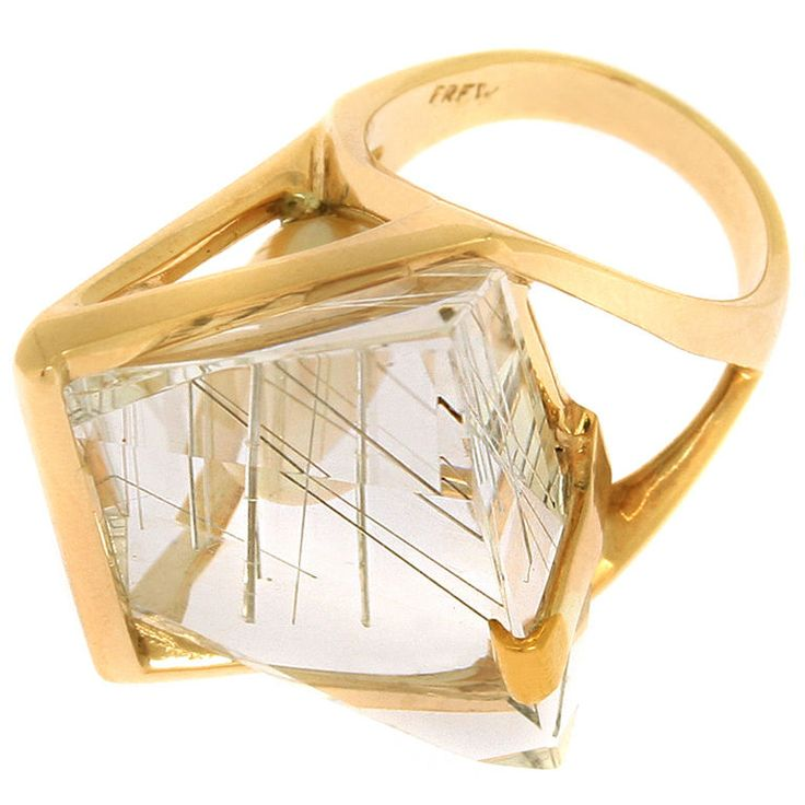 Modernist Rutilated Quartz, Pearl and Gold ring