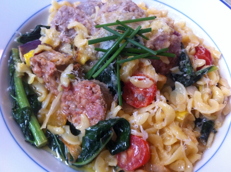 ... summer squash, spring onions, and cherry tomatoes, After pasta is