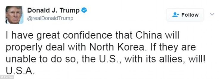 US President Donald Trump tweeted that he had 'great confidence that China will properly d...