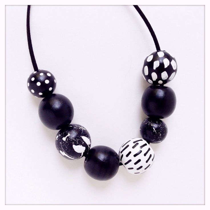 Hand Painted Geometric Wood Bead Necklace in Black Tie Nights by TheColorfulNest on Etsy https://www.etsy.com/listing/239028949/hand-painted-geometric-wood-bead