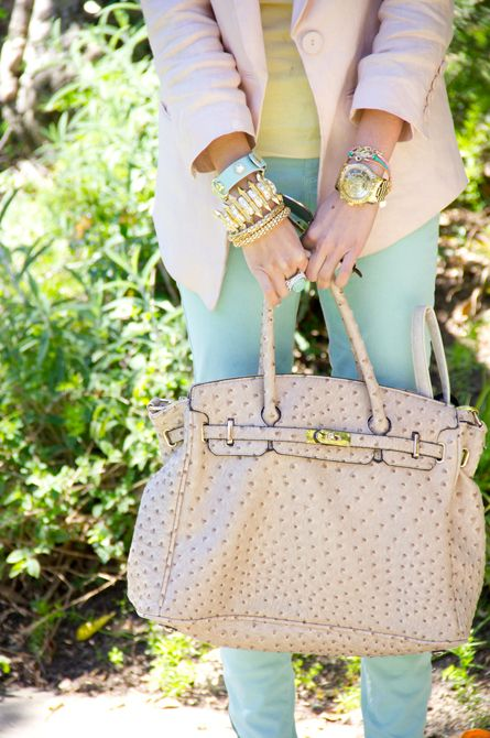 : Colors Combos, Birkin Bags, Pastel Cerveza Tennis, Girls Generation, Outfit, Pink Bags, Street Style Fashion, Accessories, Mint Skinny