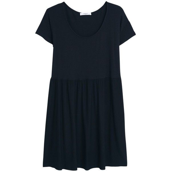 Mango Textured Flare Dress, Black (1,415 PHP) ❤ liked on Polyvore featuring  dresses