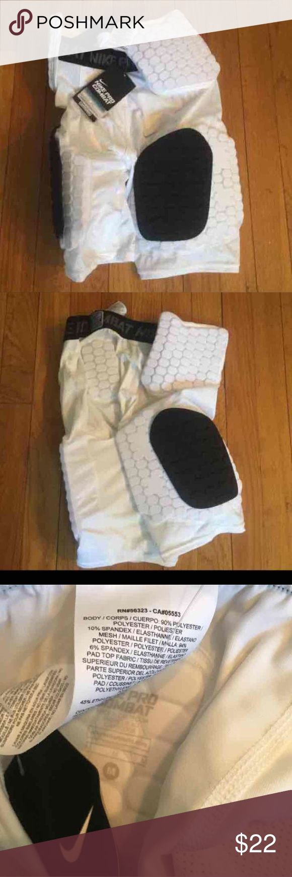 Nike Pro Combat Compression Shorts Nike Pro Combat compression shorts.   Boys Medium. Would fit a men's small.   White.   New with tags.   Perfect for any contact sport like football or lacrosse Nike Bottoms