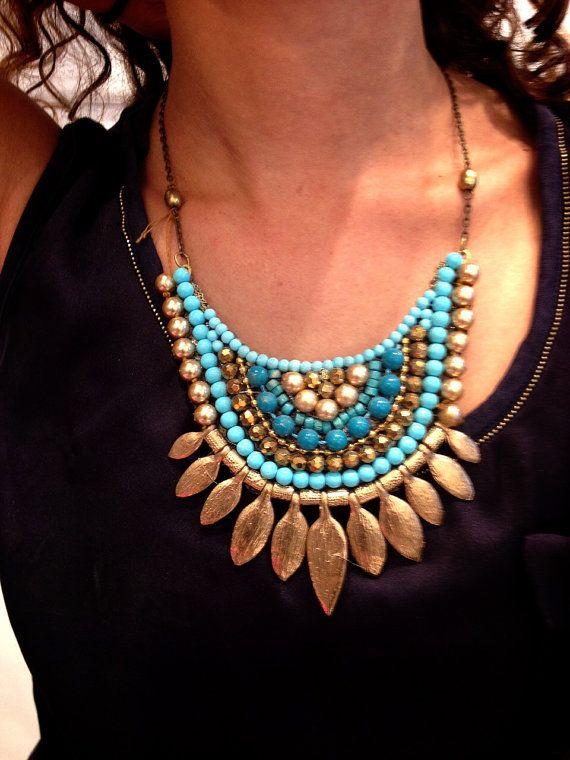 Statement Turquoise ethnic Necklace Boho door RachelGefenDesigns