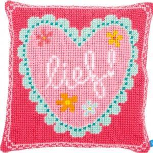 """""""Heart - Lief!"""": kruissteekkussen om zelf te maken, op voorgeschilderd stramien te borduren"""