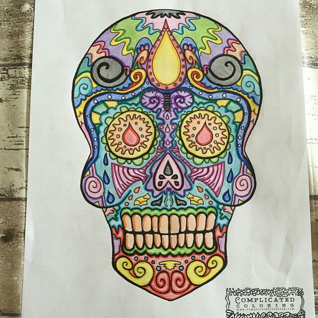 55 best Day of the Dead - Sugar Skulls - Anti-Stress coloring book ...