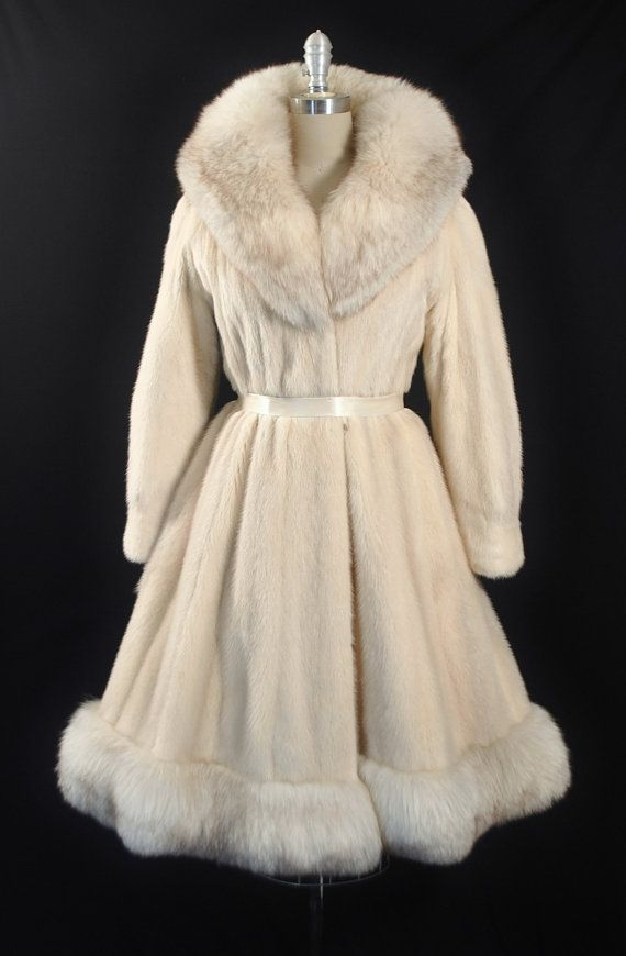 Vintage 1950s - 60s Genuine Tourmaline Mink + Arctic Fox Fur Princess Dress Coat.
