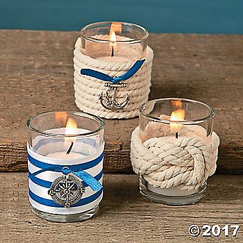 Craft your own reception table accents with this Nautical Wedding Votive Holder Idea. Add battery-operated tea lights to bring a warm and inviting ambiance to ...