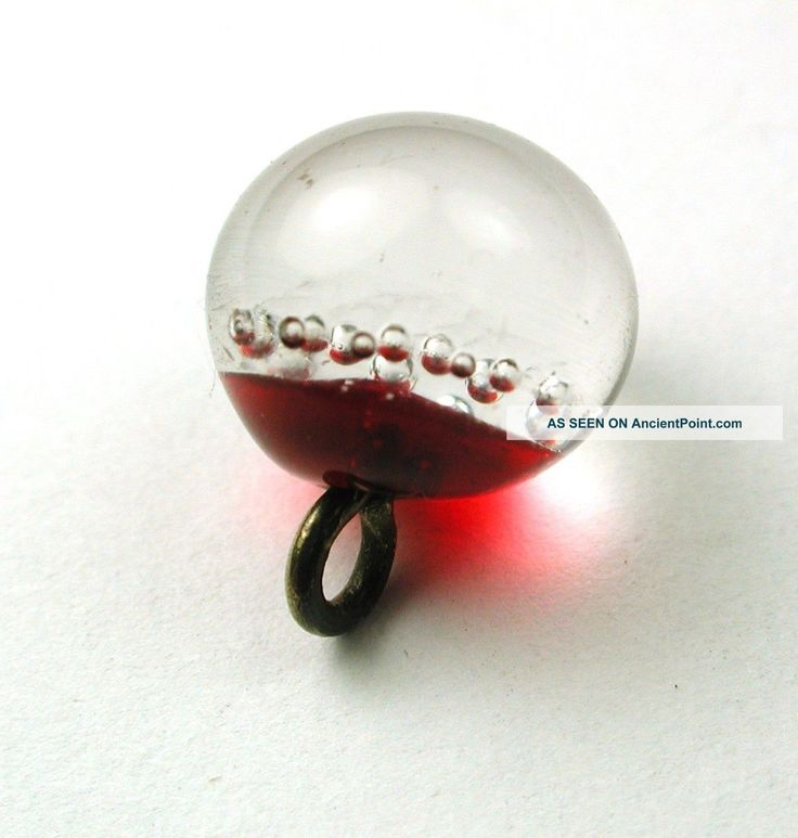 Antique Paperweight Glass Button Bubbles Suspended In Red Setup/Circa: 1870