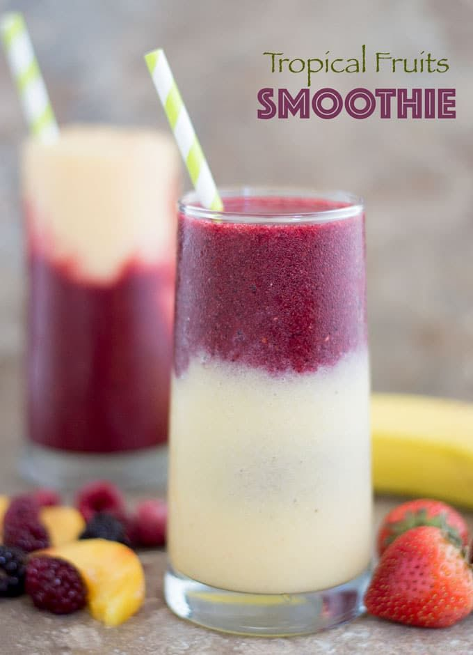 This tropical fruit smoothie is made with delicious fruits! Best summer drink and a fun way to feel like you are sitting on the sands of the Caribbean. #Ad @walmart @Torani #mytoranisummer