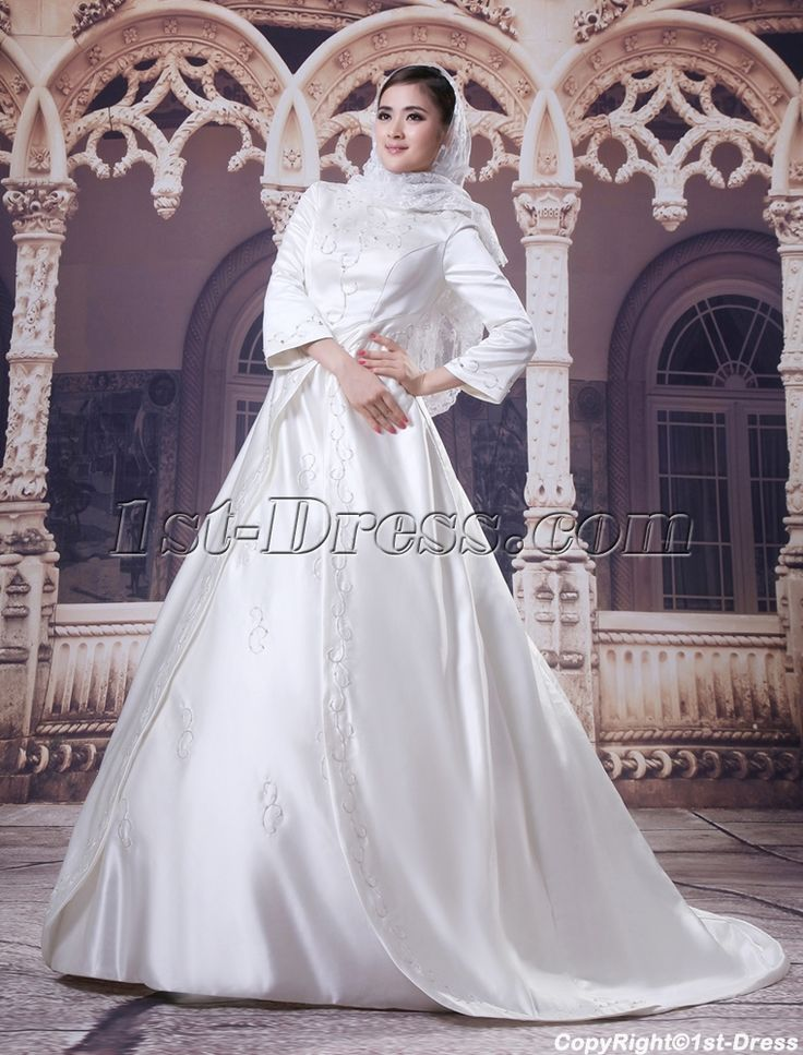 3/4 Sleeves Embroidery Muslim Bridal Gowns:1st-dress.com