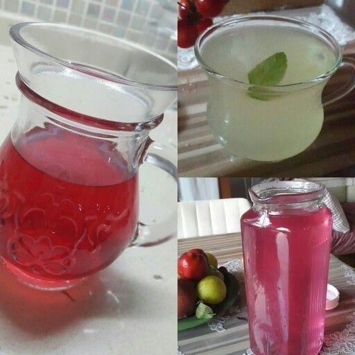 Limonata, reyhan ve hibiskus serbeti