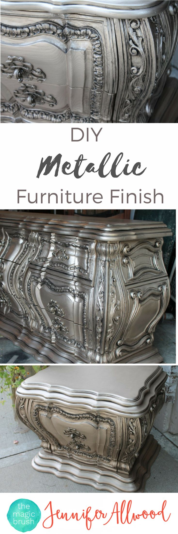 How To Paint Metallic Furniture This Is A Gorgeous Diy Silver Furniture Finish That Looks