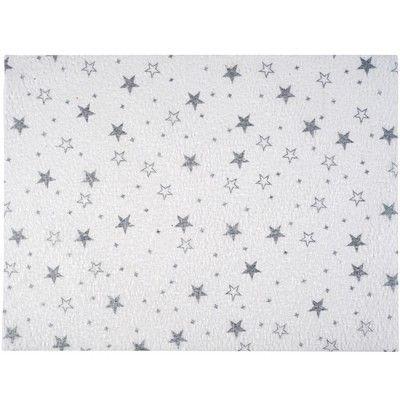 10 sets de table en papier blanches design étoiles argentées, dim. 30x40 cm.