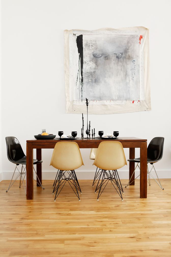 The Dark Side: Neo Goth Royalty at Home in Brooklyn : Remodelista - love the mismatched chairs + raw feeling art