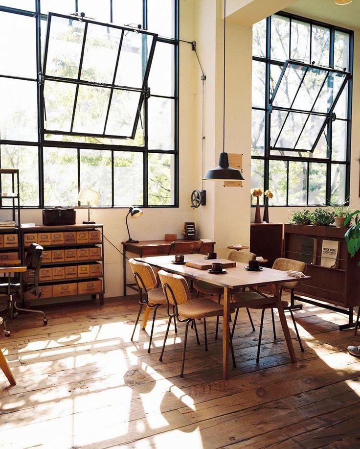 wood floor and warehouse windows