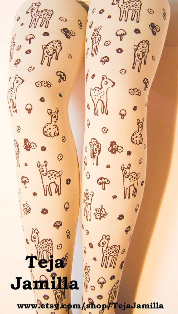 Deer Tights Fawn & Mushroom Print Plus Size Extra by TejaJamilla