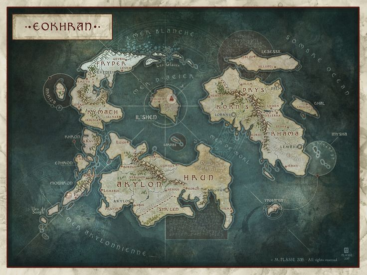 Eokhran © M.PLASSE 2015 map cartography | Create your own roleplaying game material w/ RPG Bard: www.rpgbard.com | Writing inspiration for Dungeons and Dragons DND D&D Pathfinder PFRPG Warhammer 40k Star Wars Shadowrun Call of Cthulhu Lord of the Rings LoTR + d20 fantasy science fiction scifi horror design | Not Trusty Sword art: click artwork for source