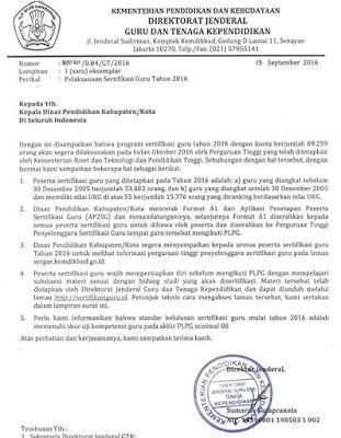 Edaran Ditjen GTK Perihal Sergur 2016