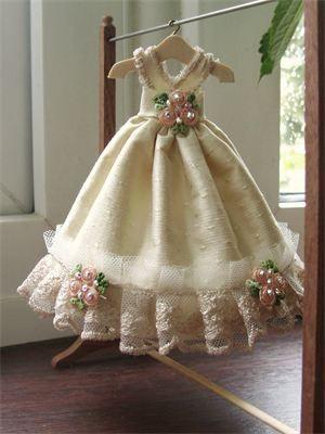 1/12th scale coffee silk wedding gown.