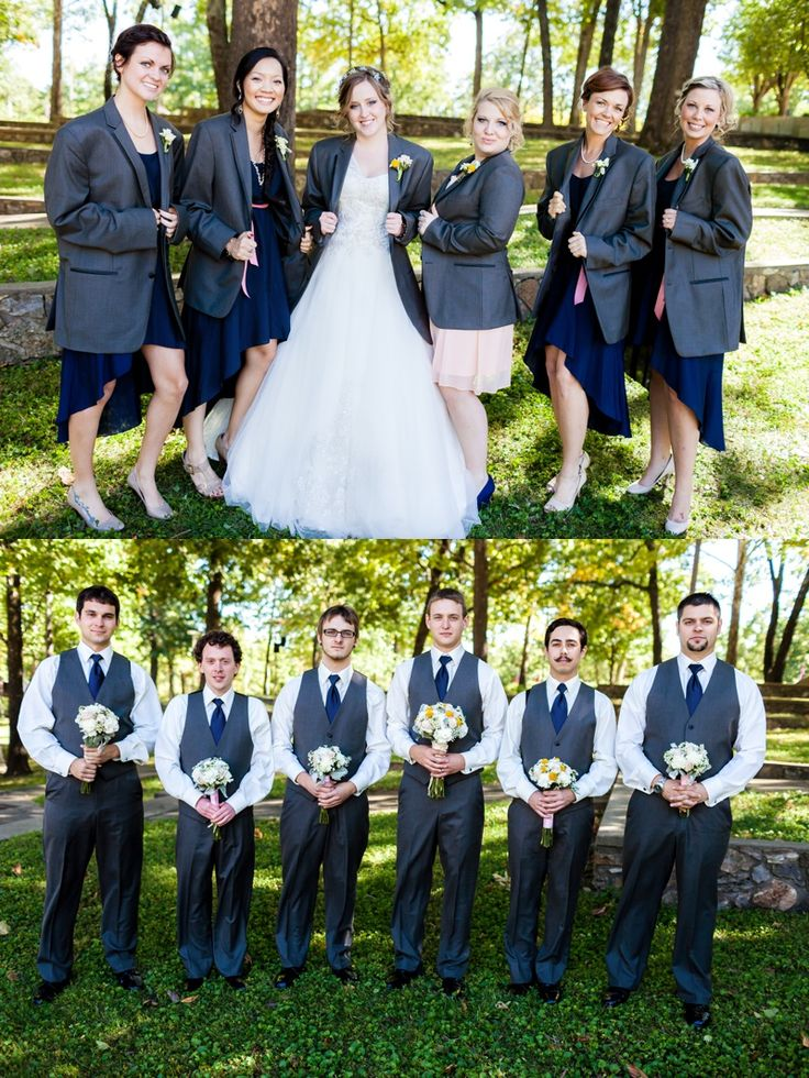 Switch the props between the bride and bridemaids with the groom and groomsmen.