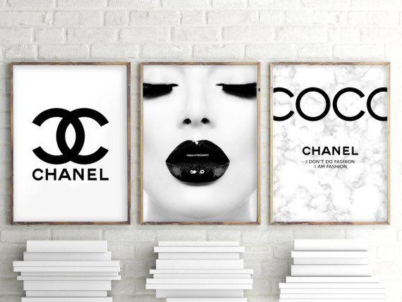 Chanel Makeup Prints Chanel Print Fashion Wall Art Chanel Logo Chanel Set Of 3 Marble Coco Chanel Prin Chanel Wall Art Fashion Wall Art Fashion Wall Art Chanel