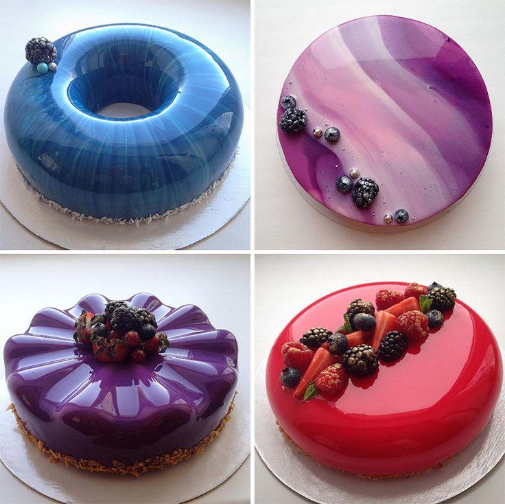 Surgiram na internet e viraram um verdadeiro sucesso mundial, os bolos de vidro são lindos. O nome bolo espelho, bolho vidro, glass cake deve-se ao acabame