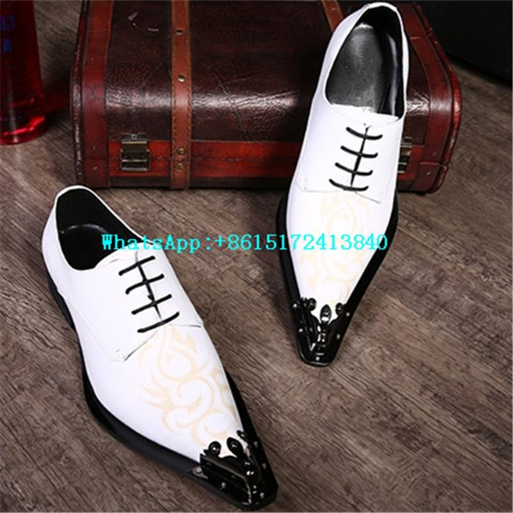 84.20$  Know more  - Breathable Solid Lace-Up Totem Men White Loafers Pointed Toe Genuine Leather Flats New Fashion Steel Toe Work Shoes Men Casual