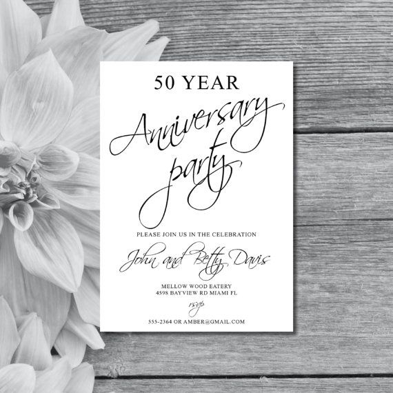 11 best anniversary invites images on pinterest anniversary 50 year anniversary party invite black and white background printable pdf fifty stopboris Image collections