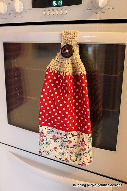 Crocheted Tea Towel Topper By Laughingpurplegoldfish Via