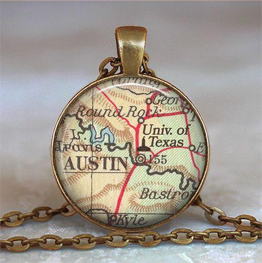 University of Texas necklace, UT at Austin map necklace, UT pendant, student gift professor gift alumni jewelry college key chain key ring by thependantemporium on Etsy https://www.etsy.com/listing/490227825/university-of-texas-necklace-ut-at