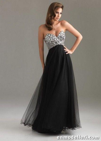 Siyah straplez parti elbiseleri uzun abiye modelleri 2014 - 2014 Modelleri