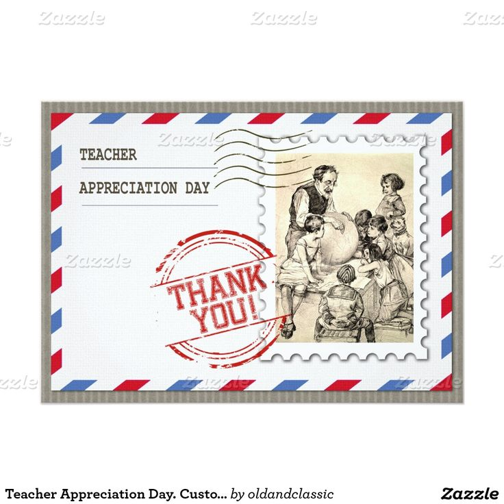 Vintage Design  Teacher Appreciation Day corporate or personal Customizable Flat Greeting Cards for Teachers with a vintage classroom scene image from the Library of Congress Collection. Matching cards, postage stamps and other products available in the oldandclassic store at zazzle.com