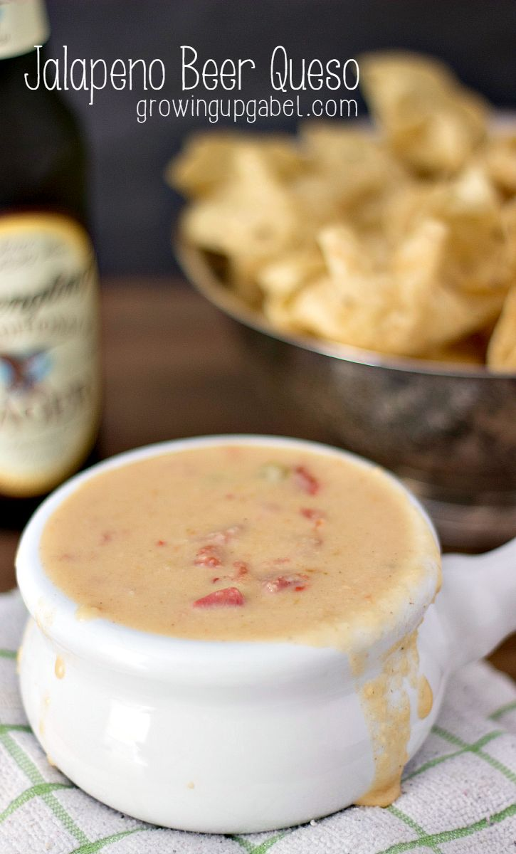 This jalapeno beer queso dip recipe is done in less than 30 minutes and is delicious. It is the perfect football game time snack or as a party appetizer!