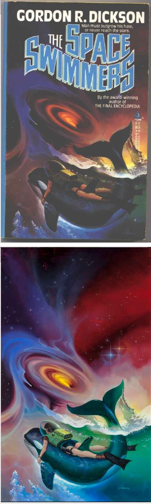 Watercolor book covers - Alan Gutierrez The Space Swimmers By Gordon R Dickson 1987 Tor Books