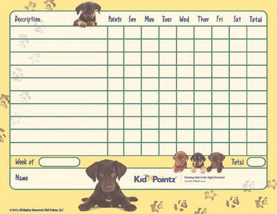 Kids Behavior Chart: Puppies Theme