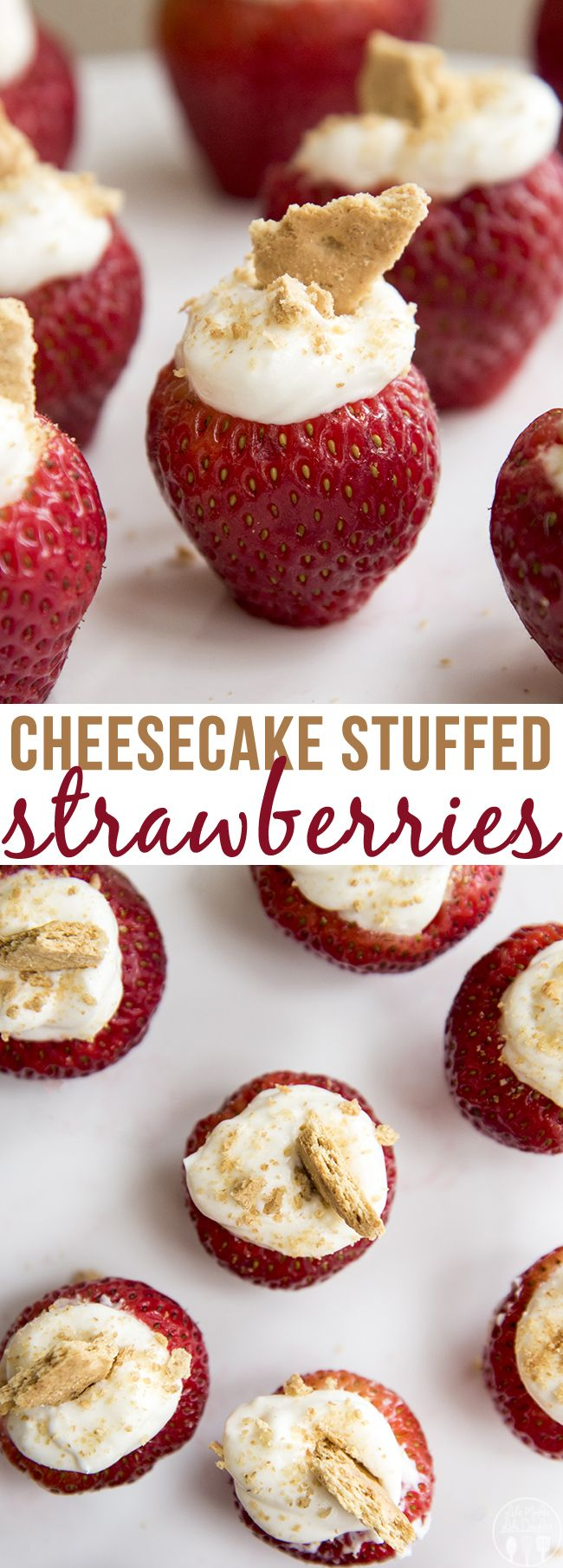 Cheesecake Stuffed Strawberries - Delicious no bake cheesecake filling stuffed inside of strawberries and topped with graham cracker crumbs make these a perfect summer dessert!