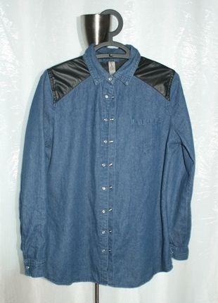 Kup mój przedmiot na #vintedpl http://www.vinted.pl/damska-odziez/koszule/12010339-jeansowa-koszula-ze-skorzanymi-wstawkami