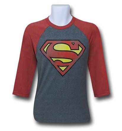 Superman Symbol  Logo Grey Baseball T-Shirt