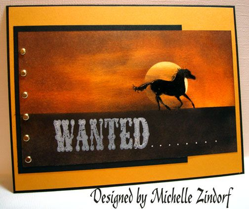 """Wanted Pony (tutorial), MZ: Stamps:  Stampin' Up """"Wanted""""; Paper:  Stampin' Up Whisper White, Basic Black & More Mustard; Ink:  Stampin' Up More Mustard, Craft White, Basic Black, Chocolate Chip, Really Rust, Apricot Appeal; Accessories:  Brads, Stamp-a-ma-jig, Black marker, Versamark marker, White Gel pen, Piercing Tools, 1 1/4 circle punch, post it note, Brayer, clear embossing powder & heat gun, sponges"""