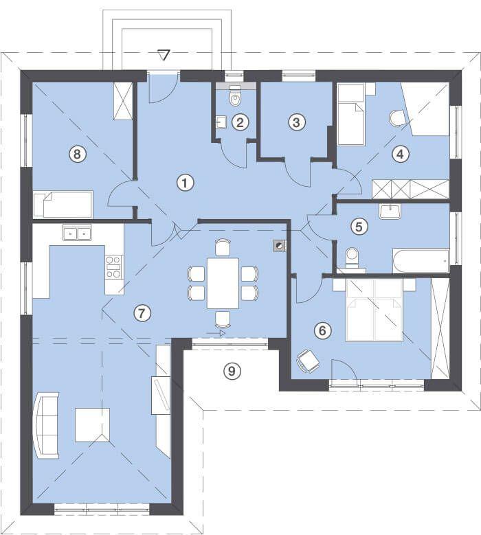 24 besten grundriss bungalow bilder auf pinterest grundriss bungalow haus grundrisse und. Black Bedroom Furniture Sets. Home Design Ideas