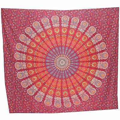 INDIAN MANDALA WALL HANGING tapestry throw decor hippy bed maroon red cotton art